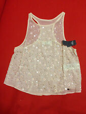 Abercrombie & Fitch Women Tank Top Sz M Sequin Embellish Floral Orange Tara New