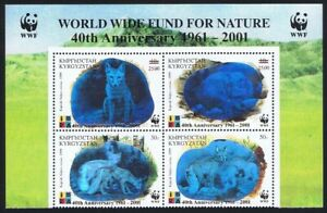 Kyrgyzstan WWF Fox 40th Anniversary 4v Block of 4 Ovpt WWF Logo 2001 MNH