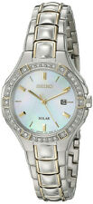 Seiko Women's Solar Mother of Pearl Two Tone Stainless Steel Watch SUT282