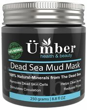 Dead Sea Mud Mask for Face and Body Skin Natural Cleanser by Umber NYC - 8.8 OZ
