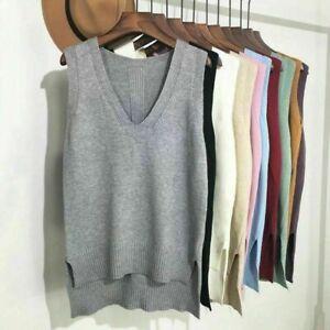 Womens Knitted Vest Waistcoat Sweater Jumper Tank Top V Neck Sleeveless UK