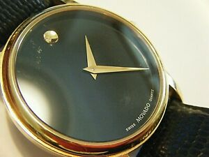 Used Movado Classic Museum Man's Gold and Black 38mm Large Dial Swiss Watch