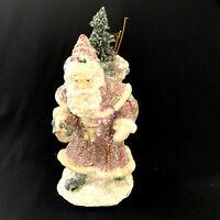 Glitter Santa Vintage Style Sack Toys Figurine Christmas