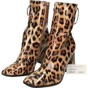 boots leopard print mid calf Square toe zip high heels block UK 7 40 HFG10 (405)