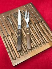 12 Piece Japan Stainless Steel Wood Handle & Box 6 Setting Steak Knife Fork Set