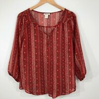 Lucky Brand Sheer Popover Peasant Boho Blouse Top Womens M Red Paisley Floral