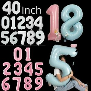 40 inch Giant Pink Blue White Foil Number Balloons Happy Birthday Age 2022 Party