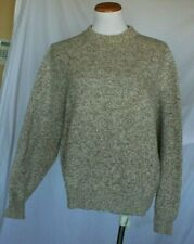Lands End Vintage Womens Sweater Large Heather Tan Crew Neck T23