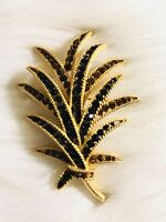 "Vintage Designer Signed Crown Trifari Gold Tone & Rhinestone Leaf Brooch Pin 3"""