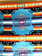 "Native American Indian Aztec Navajo fleece fabric on blue, 60"" by 32"""
