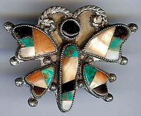 VINTAGE ZUNI INDIAN SILVER STONE INLAY TURQUOISE CORAL BUTTERFLY PIN BROOCH