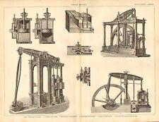 1874 print ~ moteur à vapeur ~ cylindre & valve-poitrine pompe à air woolf le système