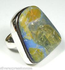Huge Natural Australian Boulder Opal Solid 925 Sterling Silver Ring size 7