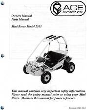 ACE GO KART MINI ROVER 2503 OWNERS & PARTS MANUAL