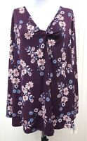 Style & Co. NWT Women's 1X Blouse Floral Purple Pink Blue Knotted VNeck Stretch