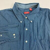 Izod Button Up Shirt Men's Size 2XL XXL Long Sleeve Blue Gray Plaid Cotton