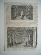 GRAVURE 1868. PARIS. RESTAURATION DU CABINET DE SULLY, BIBLIOTHEQUE DE L'ARSENAL