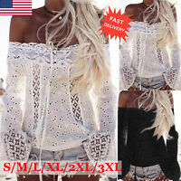 Fashion Women Lace Blouse Loose  Off Shoulder Long Sleeve Tops T-Shirt Plus Size