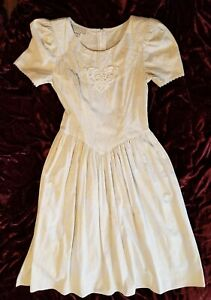 Vtg Gunne Sax Dress Prairie 1980s Pale Yellow & Gray Cotton Bibbed Long 7/8