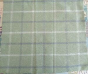 FAT QUARTER ISLES LEWIS WOOL TOUCH CHECK SAGE GREEN GREY CREAM Check FABRIC