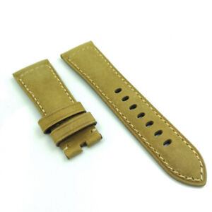 26mm / 22mm Yellow Brown Color Calf Leather Watch Band Strap For PAM Wrist Watch