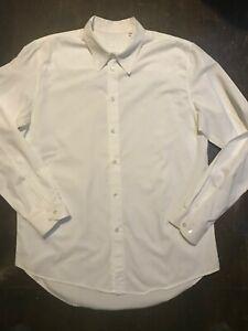 HELMUT LANG Archival Original Vtg Mens White Cotton Logo Shirt SZ 54 XL Italy