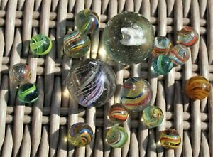 Quality Marbles - bunch of 18 antique German glass marbles - VER486