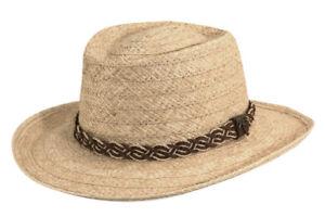 SCALA * NEW MENS RAFFIA GAMBLER HAT * PANAMA STYLE STRAW SUMMER SUN SHADY GOLF