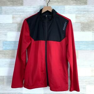 And1 Full Zip Track Jacket Red Black Mock Neck Lightweight Activewear Mens Small