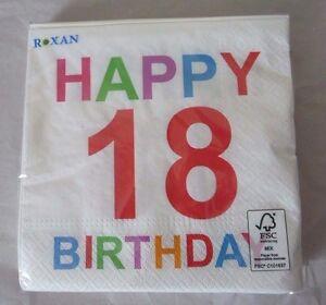 """BUNTE Geburtstags-Servietten """"HAPPY BIRTHDAY 18"""", 33x33 cm, 20 Stück! NEU"""