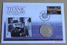 """Titanic Centenary 2012 Cubierta + 2012 Islas Cook 'Inalámbrico habitación """"moneda de $1"""