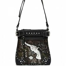 Bling Camo Messenger Crossbody Bag w// Guns INCLUDES Matching Wallet Lime Green