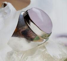 Massiv Silberring 57 Modern Rosenquarz Handarbeit Silber Ring Oval Schlicht Rosa