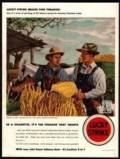 1942 LUCKY STRIKE Cigarettes - ERNEST FIENE Art - Tobacco Leaf VINTAGE AD