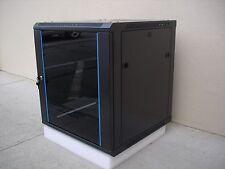 15U Wall Mount Network Server Cabinet w/Glass Door, Fan, Lock&Key,Rail -23.5