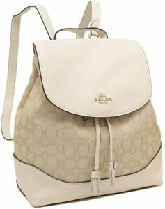 Coach Medium Elle Signature Back Pack,Book Bag in Light Chalk/Khaki