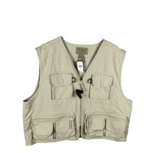 LL Bean Mens Emerger Fly Fishing Vest Size XXL Beige Full Zip Sleeveless Pockets