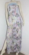 T by Bettina Liano Printed Silk Multi coloured Maxi Dress, splits SZ 10 as NEW