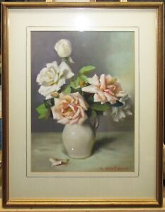 Mae Bennett-Brown Exhibited 1946 Pastel Still LIfe of Roses Listed Rockport