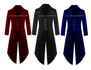 Banned Men Steampunk Tailcoat Jacket Velvet 3 COLORS Gothic Victorian Coat VTG