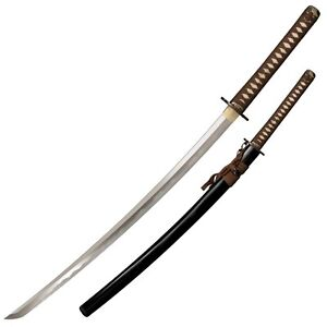 Cold Steel Mizutori Crane Katana Sword 1095 Carbon Brown Braid Cord Handle 88CKK