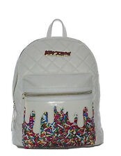 Betsey Johnson KITSCH RAINBOW SPRINKLES BACKPACK BM19300 CREAM Diamond Quilted
