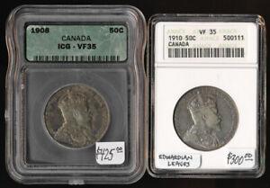 1908 & 1910 CANADA 50¢ ICG & ANACS BOTH VF35 (CAT VALUE NEAR $700 USD) NO RSRV