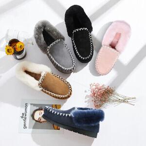 【ON SALE】UGG Australian Merino Sheepskin Moccasins Slippers Casual Slip