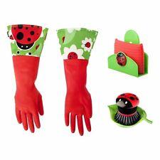 Vigar Ladybug Dish Washing Set - Gloves, Palm Brush & Sponge w/ Holder