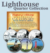 Historic American * LIGHTHOUSES * Colorized US Statehood Quarters 3-Coin Set #9