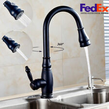 Oil Rubbed Bronze Faucet Pull-Out Kitchen Sink Spray Swivel W/ Spout Dispenser