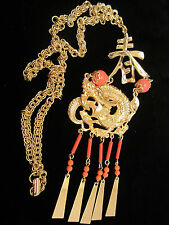 "Rare Vtg 20"" Signed ART Gold Tone Necklace 6"" Faux Coral Asian Dragon Pendant 53"