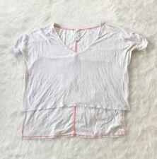 Lululemon My Mantra Ruched Short Sleeved Hi-Lo Heathered White Shirt Size 6