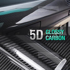 """Ultra Shiny High Glossy 5D Carbon Black Fiber Decal 12""""x59"""" for All Vehicle"""
